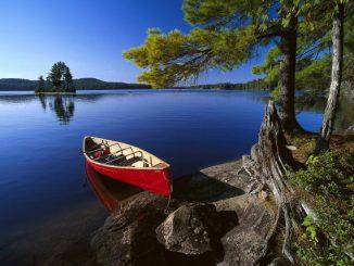 Canoe at Lake Opeongo, Algonquin Provincial Park, Ontario, Canada